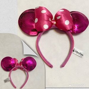 DISNEY Minnie Mouse ears hot pink sequins girls